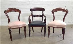 Sale 9179 - Lot 1021 - William IV Mahogany Armchair TOGETHER with a Pair of Victorian Chairs, the armchair with leaf carved back rail, scrolled arms, drop-...