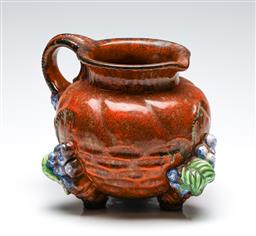 Sale 9253 - Lot 189 - A large studio pottery jug with high relief grape design - signed and dated to base (H:22.5cm) - loss to glazing on handle