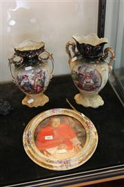 Sale 7953 - Lot 64 - Hand Painted Floral Ceramic Frame and Pair of English Vases