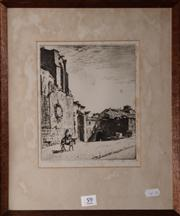 Sale 8080A - Lot 59 - Lionel Lindsay, Gateway Bourgos. drypoint. signed lower left.