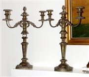 Sale 8088A - Lot 48 - Pair of Victorian heavy three branch candelabra - height 57cm