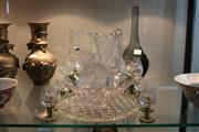 Sale 8324 - Lot 80 - Vannes Crystal Horse Head with Crystal & Glass incl. Green Etched Stem Wares