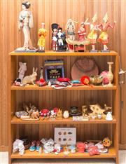 Sale 8515A - Lot 52 - A timber shelf and contents including world dolls, pin cushions, leather hand bag, etc, H of shelf 93cm