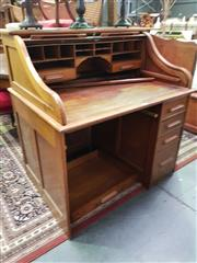 Sale 8657 - Lot 1049 - Maple Roll Top Desk
