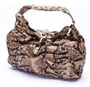 Sale 8921 - Lot 35 - A BALLY VINTAGE PYTHON SKIN MAYLA BAG; with gold tone hardware, magnetic clasp and tag, plaited strap and monogram interior material...