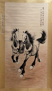 Sale 8980S - Lot 672 - Chinese Horse Scroll, Ink and Colour on Paper