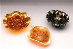 Sale 9098 - Lot 217 - Collection of three carnival glass dishes (largest W18cm)