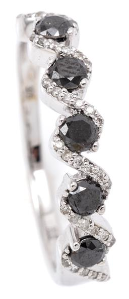 Sale 9164J - Lot 427 - A BLACK AND WHITE DIAMOND RING; half hoop infinity style set with 5 round brilliant cut treated black diamonds and 36 round brillian...