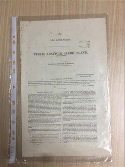 Sale 9152 - Lot 2421 - Report: 1887 New South Wales Public Abattoir, Glebe Island, presented to Parliament by Command