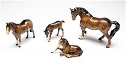Sale 9209V - Lot 14 - A group of four Bewsick horses - repair to smallest example's legs (L:10cm to 21.5cm)