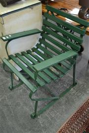 Sale 8013 - Lot 1194 - Pair Of Green Painted Outdoor Chairs