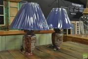 Sale 8257 - Lot 1013 - Pair of Oriental Hand Painted Lamps (4140)
