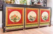 Sale 8298 - Lot 47 - An Antique Chinese Buffet featuring a highly decorative paint finish with three doors opening to reveal a shelved interior. 52 x 85...