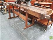 Sale 8451 - Lot 1093 - An antique cabinet makers bench with timber vice, H 80 x W 205 x D 90cm