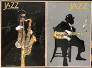 Sale 8783 - Lot 50 - Pair of Large Framed Jazz Festival Posters (153cm x 130cm)