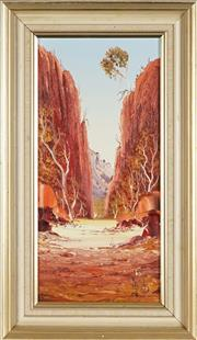Sale 8850 - Lot 2008 - Henk Guth - Stanley Chasm 1980 oil on board, 47 x 22cm; 60.5 x 34.5cm (frame), signed lower right -