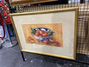 Sale 8906 - Lot 2027 - Sue Earles - Still Life - Apples and Blue & White Bowel pastel, 54.5 x 75cm (frame), signed