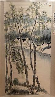 Sale 8951S - Lot 58 - Chinese Scroll of a Village amongst Trees, Ink and Colour on Paper