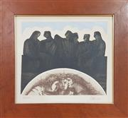 Sale 8973 - Lot 2009 - A European Etching The Gatheringed 32/100, 42 x 46cm (frame), signed Pariciolower right