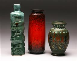 Sale 9114 - Lot 88 - Gouda vase (H:21cm) together with a West German example (H:27cm) and tiki decanter (H:30cm)