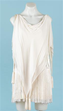 Sale 9092F - Lot 77 - A VINTAGE IVORY SILK TASSLED FLAPPER DRESS, Size S (holes and stains to back commensurate with age)