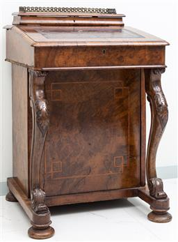 Sale 9162H - Lot 77 - An antique walnut Davenport writing desk with leather inlay. Height 83cm x Width 53cm x Depth 52cm