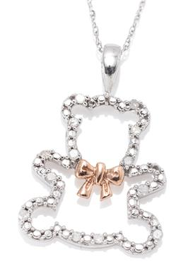 Sale 9164J - Lot 428 - A 10CT WHITE GOLD DIAMOND TEDDY BEAR PENDANT; frame set with 13 round brilliant diamonds (one is missing), featuring a rose gold bow...