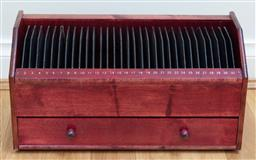 Sale 9165H - Lot 144 - A timber calendar box for documents with single drawer to front Height 22cm x Width 43cm x Depth 18cm