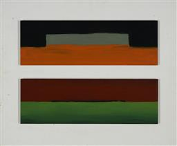 Sale 9170 - Lot 599 - JAMES CLAYDEN (1948 - ) Ghost Study & Green Lake, Red Sky, 2001 oil on board 17.5 x 53 each (overall: 58 x 70 x 3 cm) signed and tit...
