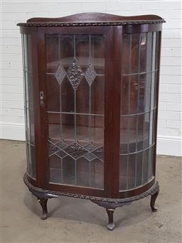 Sale 9210 - Lot 1078 - Early bowfront display cabinet (h140 x w95 x d35cm)