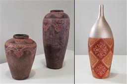 Sale 9215 - Lot 1536 - Pair of ceramic vases & another