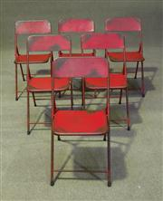 Sale 7968B - Lot 88 - Set of six folding metal chairs in red