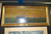 Sale 8088A - Lot 52 - Artist Unknown, British School. Ship at Sea, oil on canvas, indistinctly signed lower right. 34 x 95cm