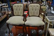 Sale 8129 - Lot 1057 - Pair Of Button Back Carver Chairs