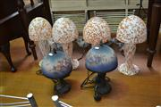 Sale 8147 - Lot 1081 - 2 Sets of 4 Art Glass Shade Table Lamps (8)