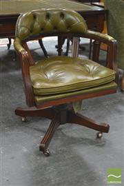 Sale 8291 - Lot 1032 - Bober Antique Style Office Swivel Chair, with olive green button leather back and seat