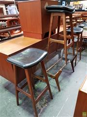 Sale 8607 - Lot 1081 - Set of Three Australian Teak Leather Top Bar Stools -
