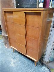 Sale 8625 - Lot 1050 - Timber Chest of Four Drawers (H: 102 W: 76 D: 47cm) -