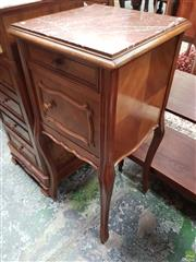 Sale 8634 - Lot 1037 - Early 20th Century French Walnut Bedside Cabinet, with brown marble top, a drawer, shaped panel door & on cabriole legs