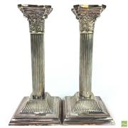 Sale 8649 - Lot 93 - Pair of Sterling Silver Column Candlesticks