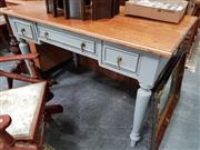 Sale 8843 - Lot 1090 - Painted 3 Drawer Desk with Natural Finish Top