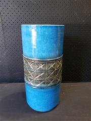 Sale 9002 - Lot 1016 - Italian Blue Glazed Cylindrical Vase And A Bitossi Style Platter