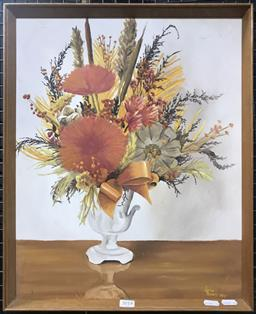 Sale 9103 - Lot 2018 - Lance Roberts Bouquet if Dried Flowers 1973 oil on board 52 x 42cm, signed and dated lower right
