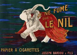 Sale 9125 - Lot 564 - Leonetto Cappiello (1875 - 1942) Je ne Fume que le nil (1912) lithograph in colours 110 x 152 cm (frame: 135 x 177 x 3 cm) .