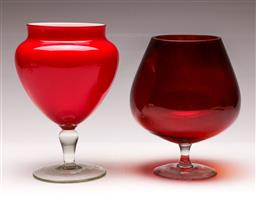 Sale 9119 - Lot 98 - A footed ruby glass vase together wit a similar example (H 20cm and 22cm)
