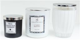 Sale 9150H - Lot 114 - A group of three scented candles in glass containers, tallest Height 13cm