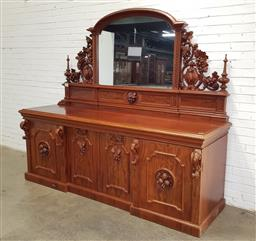 Sale 9196 - Lot 1076 - Impressive Victorian Carved Mahogany Breakfront Sideboard, the elevated mirror back with pierced grape carved brackets & spiers, abo...