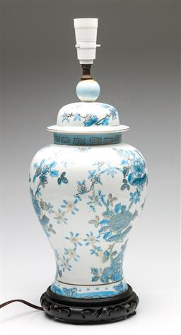 Sale 9238 - Lot 32 - A light blue and white Chinese table lamp on timber base (H:49cm)