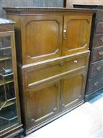 Sale 7919A - Lot 1693 - Edwardian Oak Station Masters Cabinet in 2 Sections with Pigeon Hole Shelves & Panel Doors Below