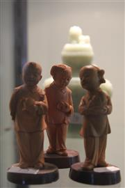 Sale 7989 - Lot 75 - Republic Boxwood Carved Set of Three Figures